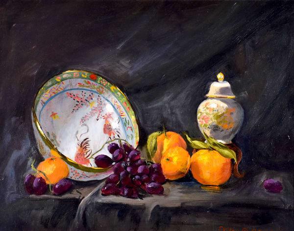Light Ginger Jar Oranges Bowl