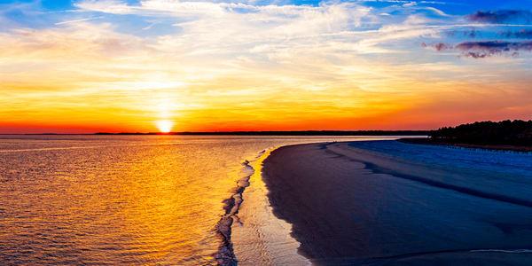 Tower Beach Sunset Aerial Photo