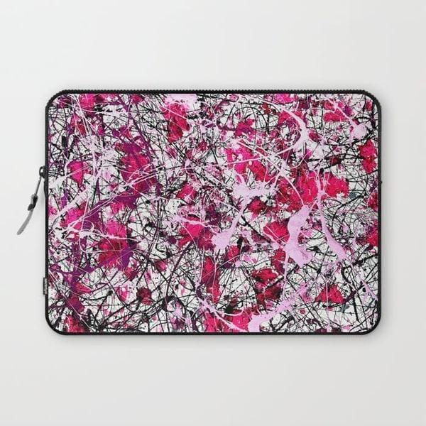 abstract splatter art laptop sleeve