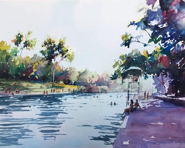 Austin Barton Springs Limited Edition Signed Print   20x16 Art   Steven Dragan Fine Art