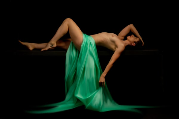 Eve with Green Fabric, Reclining