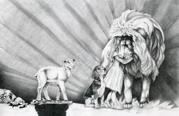 Lion and the Lamb artwork in charcoal, restored