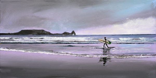 Surfer Rhossili Gower Art Print