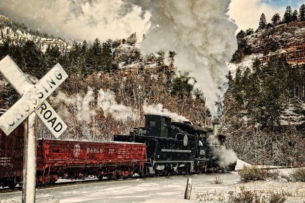 Winter Crossbuck Crossing Photography Art | Ken Smith Gallery