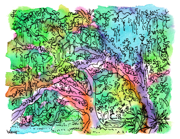 old oak grove (fountain), city park, new orleans:  fine art prints in cheerful watercolor available for purchase online