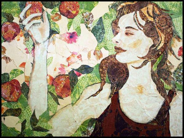 Peaches textile mosaic by Sharon Tesser