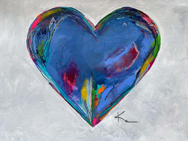 Blue Harmony Heart #1(On Paper) Art   kellymerkurart