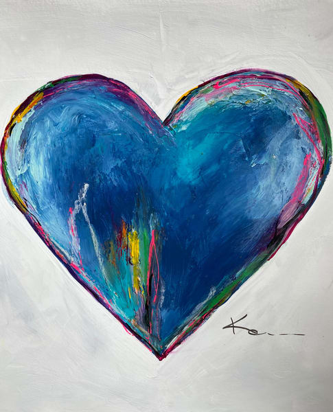 Blue Harmony Heart #2 (On Paper) Art | kellymerkurart