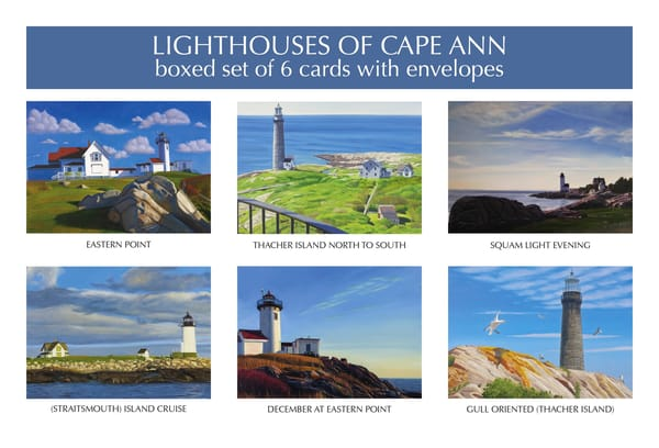 Lighthouses Of Cape Ann Blank Notecards | The Art of David Arsenault