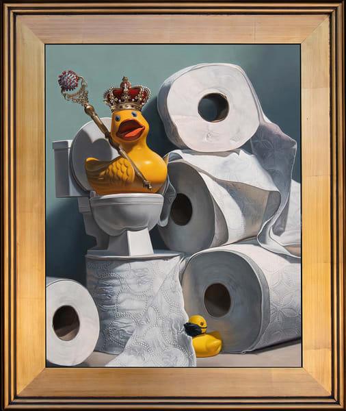 Coronavirus-inspired painting with rubber ducks