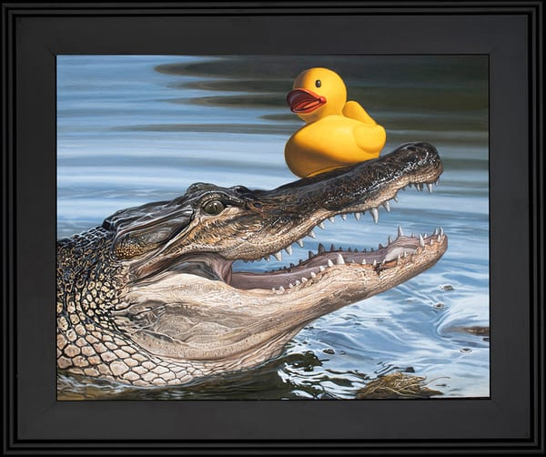 Painting with a rubber duck stuck on an alligator snout
