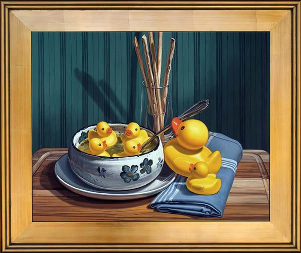 """""""Duck Soup"""" rubber ducks bathing in a soup bowl"""
