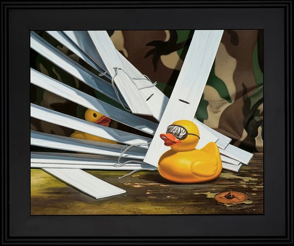 "This painting plays on the hunting term ""Duck Blind"""