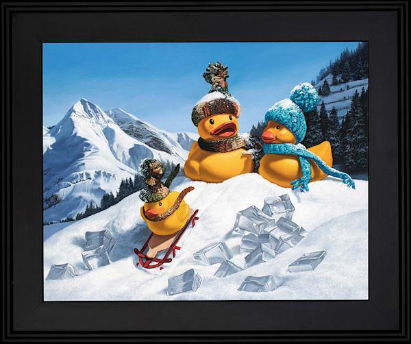 """""""Cold Duck"""" rubber ducks have sledding fun"""
