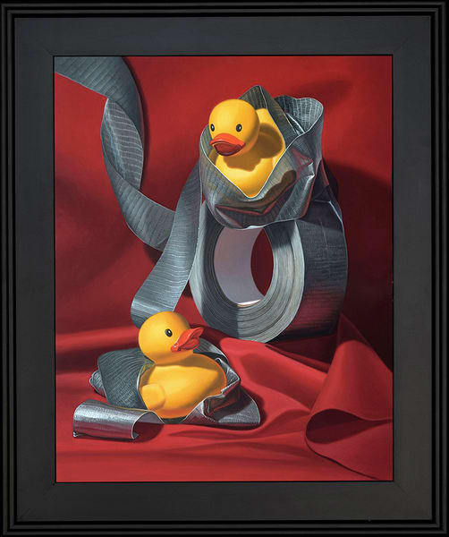 "Kevin Grass's ""Duck Tape"" painting featuring rubber ducks"