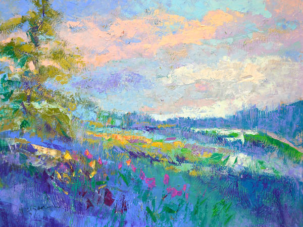 Oversize Blue Landscape Wall Art Canvas by Dorothy Fagan