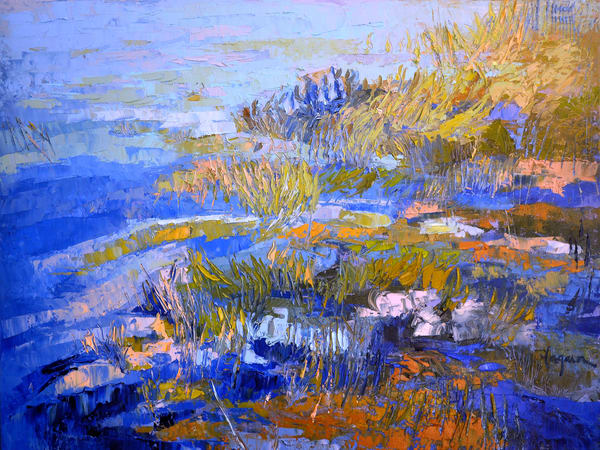 Oversize Marsh Painting, Blue Landscape Canvas Print by Dorothy Fagan