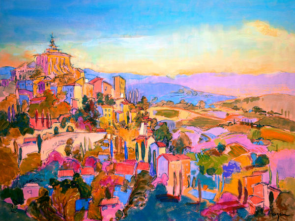 Oversize Landscape Painting with Architecture by Dorothy Fagan