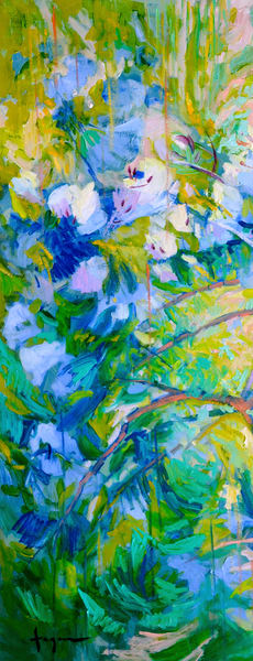 Oversize Blue Floral Canvas Wall Art Print by Dorothy Fagan