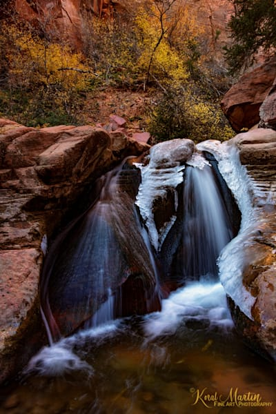 Kanarraville Canyon Slot Canyon Middle Ice Falls 3071  Photography Art | Koral Martin Healthcare Art