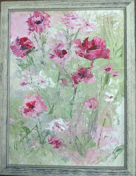 Elaine Ford - original artwork - Poppies in Pink