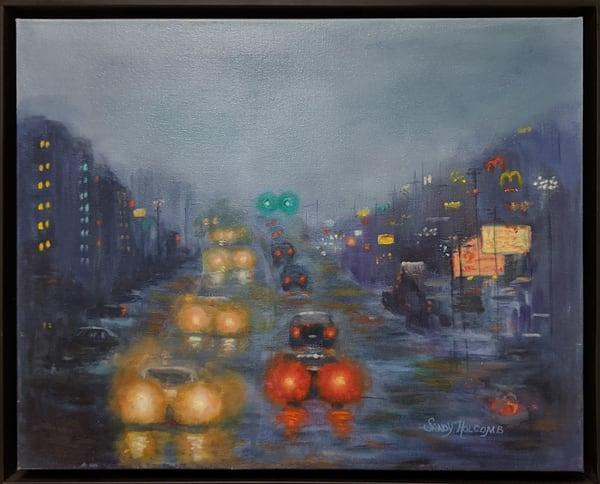 Sandy Holcomb - original artwork - rain - Panama City Beach - Rainy Twilight