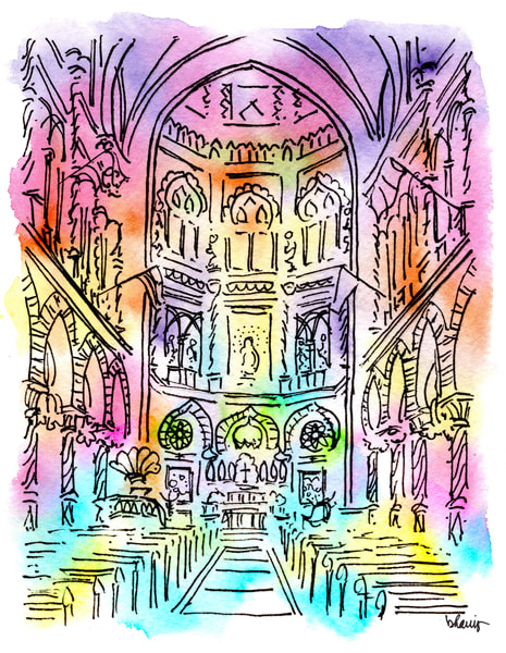 immaculate conception church, new orleans:  fine art prints in cheerful watercolor available for purchase online