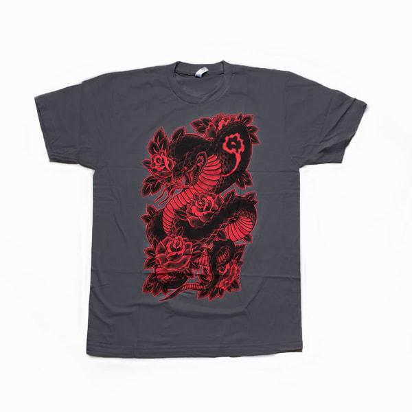 Cobra & Roses Tee: Asphalt Gray And Black/Red | Kings Avenue Tattoo
