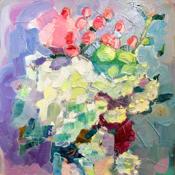 "Striking ""Still Life with Hydrangea, Pink Roses, Hypericum and Astrantia "" 8""x8"" by Monique Sarkessian oil painting on 3/4"" deep wood cradleboard framed in a white wood floater frame."
