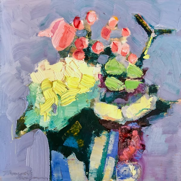 "Striking ""Still Life with Hydrangea, Pink Roses, Hypericum and Astrantia "" 8""x8"" by Monique Sarkessian oil painting for sale."