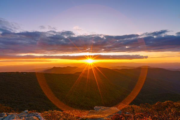 Craggy Mountain. North Carolina Ring Sunset Wall Art Print