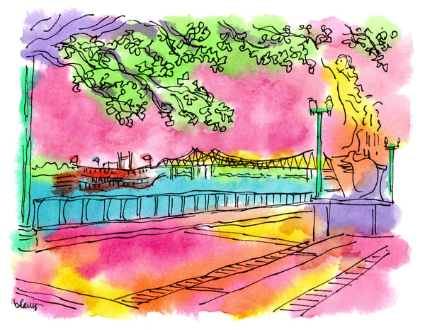 mississippi river, new orleans:  fine art prints in cheerful watercolor available for purchase online