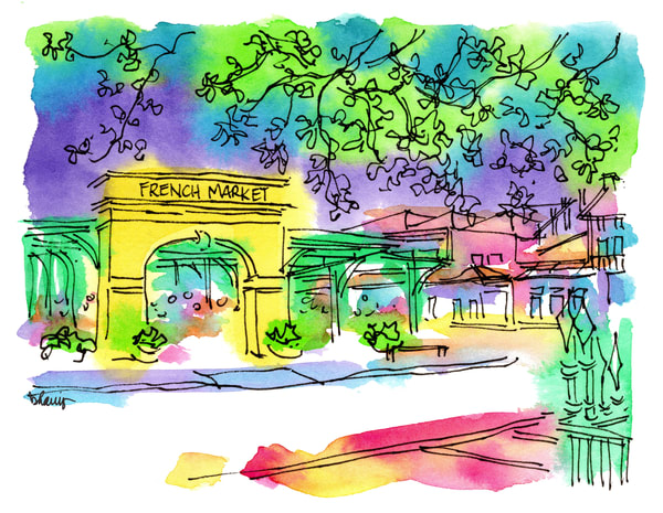 french market, french quarter, new orleans:  fine art prints in cheerful watercolor available for purchase online