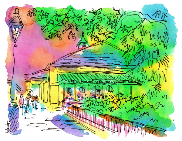 cafe du monde, new orleans:  fine art prints in cheerful watercolor available for purchase online