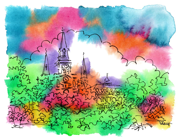 st. louis cathedral, new orleans:  fine art prints in cheerful watercolor available for purchase online