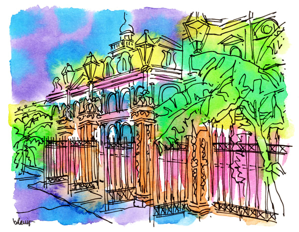 jackson square, new orleans:  fine art prints in cheerful watercolor available for purchase online