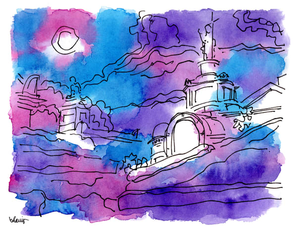 """st. louis cemetery no. 1, basin street, new orleans (""""after dark"""" collection):  fine art prints in atmospheric watercolor available for purchase online"""