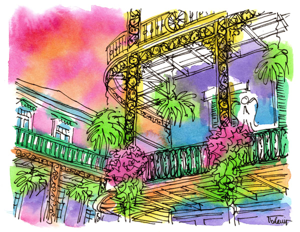 royal & st. philip, french quarter:  fine art prints in cheerful watercolor for sale online