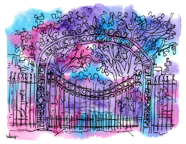 """lafayette cemetery, garden district, new orleans (""""after dark"""" collection):  fine art prints in atmospheric watercolor available for purchase online"""
