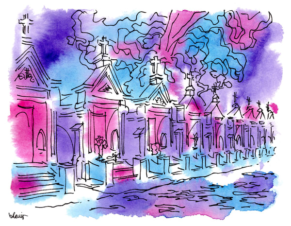 """st. louis cemetery no. 3, esplanade avenue, new orleans (""""after dark"""" collection):  purchase online fine art prints in atmospheric watercolor"""