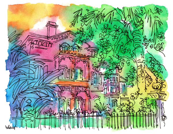 carroll-crawford house, garden district, new orleans:  fine art prints in cheerful watercolor available for purchase online