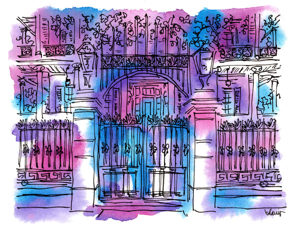 """buckner mansion, garden district (""""after dark"""" collection):  fine art prints in atmospheric watercolor available for purchase online"""