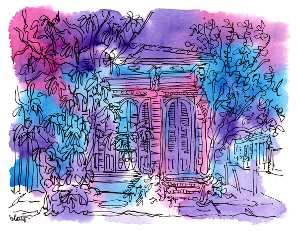 """shotgun house, french quarter (""""after dark"""" collection):  fine art prints in atmospheric watercolor available for purchase online"""