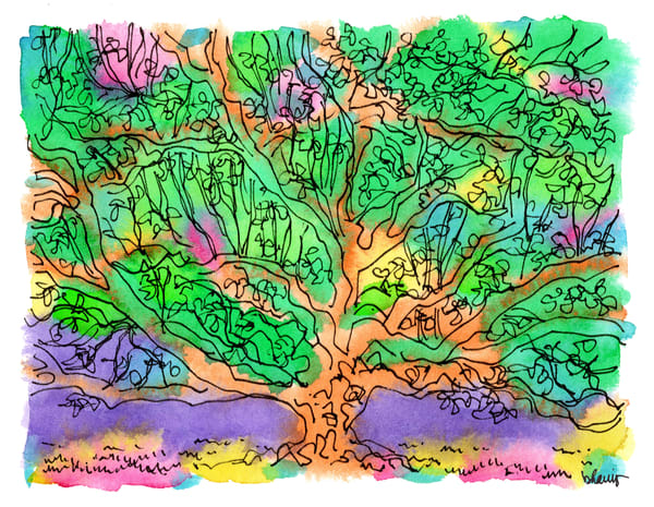 live oak tree, audubon park, new orleans:  fine art prints in cheerful watercolor available for purchase online