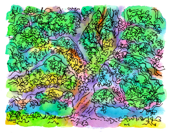 st. john cathedral oak, lafayette, louisiana:  fine art prints in cheerful watercolor available for purchase online