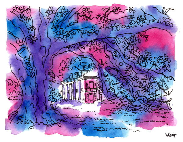 """houmas house plantation, darrow, louisiana (""""after dark"""" collection):  fine art prints in atmospheric watercolor for sale online"""