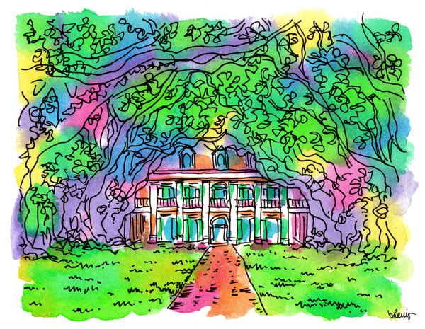 oak alley plantation, vacherie, louisiana:  fine art prints in cheerful watercolor available for purchase online