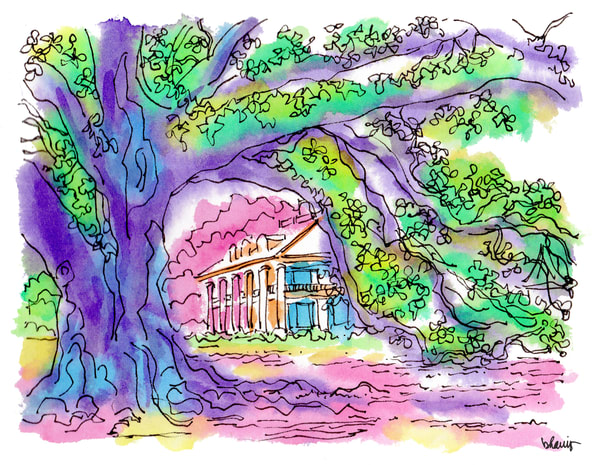 houmas house, darrow, louisiana:  fine art prints in cheerful watercolor available for purchase online
