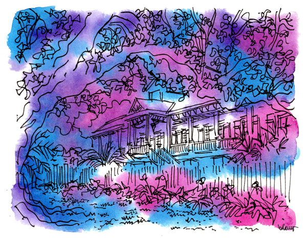 """laura plantation, vacherie, louisiana (""""after dark"""" collection):  fine art prints in atmospheric watercolor available for purchase online"""