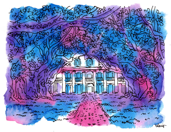 """oak alley plantation, vacherie, louisiana (""""after dark""""):  fine art prints in atmospheric watercolor available for purchase online"""